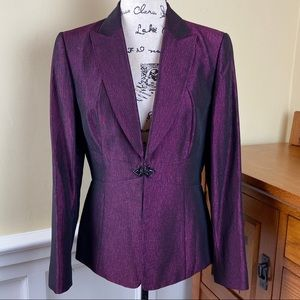 Tahari Semi Shine Purple Blazer